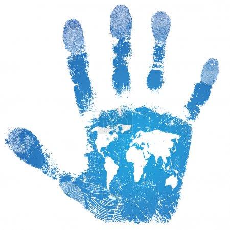Illustration pour Monde de main carte imprimée signée, support voyage, modèle de texture de peau isolé, information touristique, vector illustration grunge. - image libre de droit