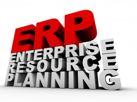 Photo for ERP Enterprise Resource Planning over white background - Royalty Free Image