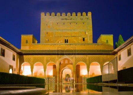 Cortyard of Alhambra at night, Granada, Spain