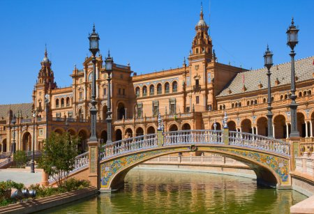 Photo for Bridge of Plaza de Espana (square of Spain), in Seville, Spain - Royalty Free Image
