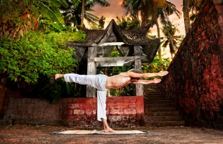 Yoga near temple
