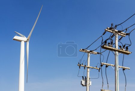 Wind turbine and power lines transporting