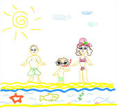 Illustration of A Family on Beach on white background