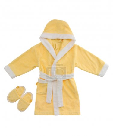 Yellow bathrobe isolated on white background