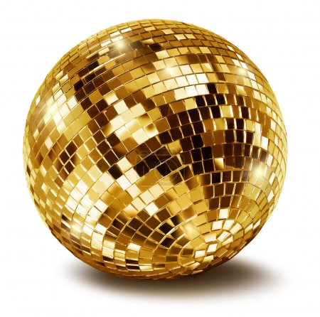 Photo for Golden disco mirror ball isolated on white background - Royalty Free Image