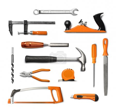Photo for Mechanic hand tools kit ,black and orange, isolated on white background - Royalty Free Image