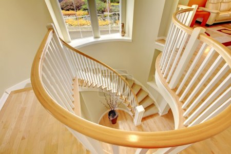 Photo for Beautiful luxury modern staircase design with hardwood floor. - Royalty Free Image