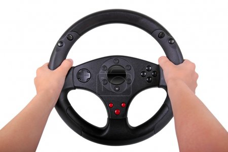 Boy with steering wheel