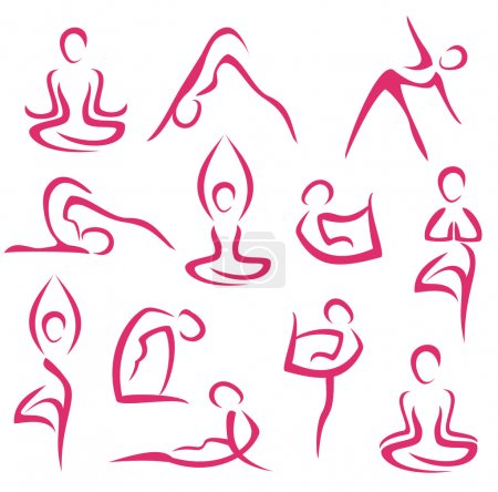 Photo for Big set of yoga, Pilates symbols - Royalty Free Image