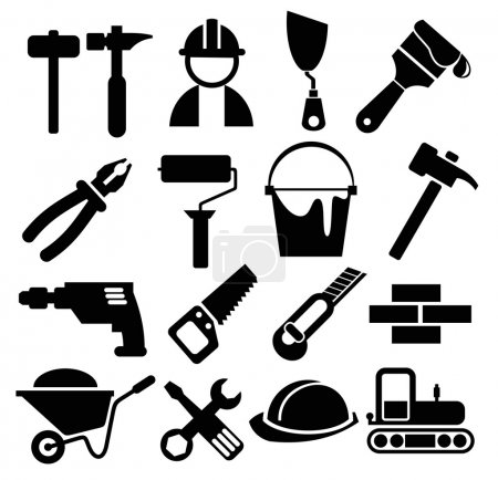 Illustration for Black vector construction icon set - Royalty Free Image