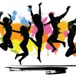 Jumping peoples on color background...