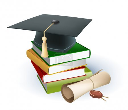 Photo for Graduation mortar on top of books - Royalty Free Image