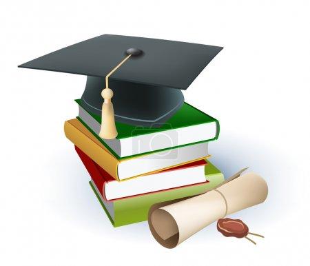 Illustration pour Mortier de graduation sur le dessus des livres - image libre de droit