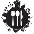 Knife, fork and spoon on round...