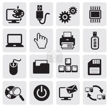 Illustration for Vector black computer icons set - Royalty Free Image