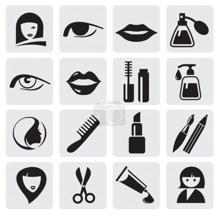 Illustration for Vector icons pack - Black Series, beauty collection - Royalty Free Image