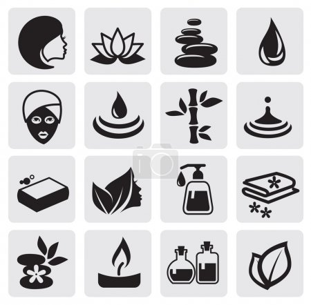 Photo for Vector black Spa icons set - Royalty Free Image
