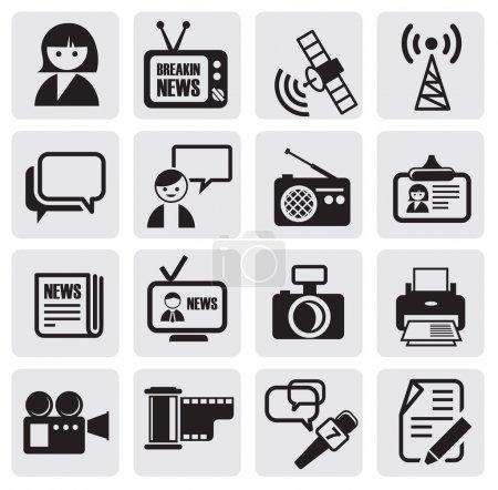 Illustration pour Ensemble d'icônes de reporter noir vectoriel - image libre de droit