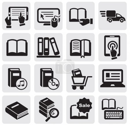Illustration for Vector black Books icons set - Royalty Free Image