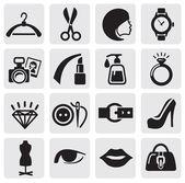 Vector black Fashion icons set