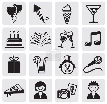 Illustration pour Ensemble d'icônes Anniversaire et célébration - image libre de droit