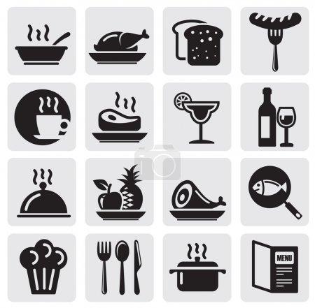 Illustration pour Icônes vectorielles noir situé restaurant - image libre de droit