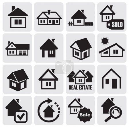 Illustration for Vector black houses icons set. Real estate - Royalty Free Image