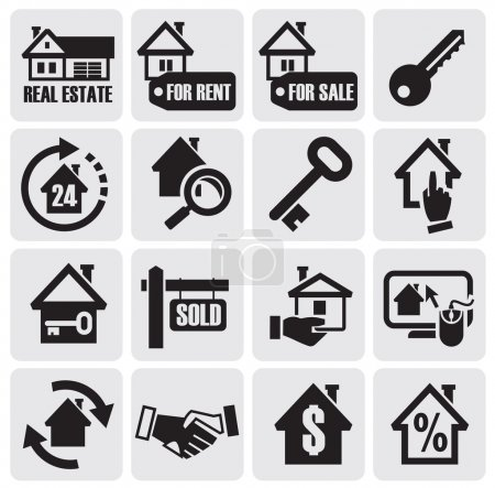 Illustration for Vector black real estate icons. - Royalty Free Image