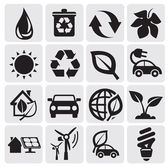 Vector black power and energy icons