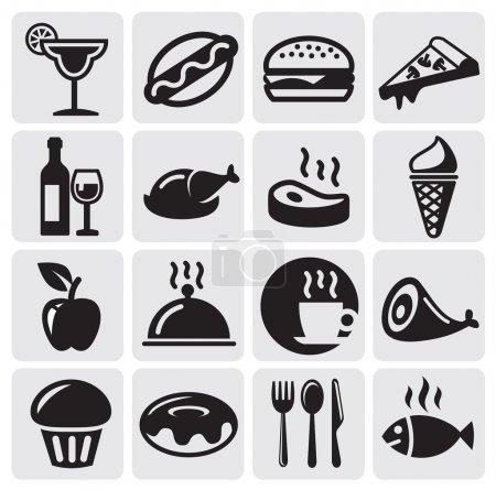 Photo pour Aliments et boissons icônes ensemble - image libre de droit
