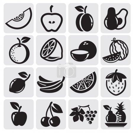 Illustration for Black icon fruit vector set - Royalty Free Image