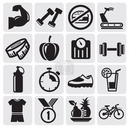 Photo for Vector black icons on fitness - Royalty Free Image