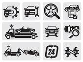 Vector black car repair icons in the gray squares