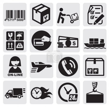 Illustration for Vector black shipping icons set in the gray squares - Royalty Free Image