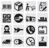 Vector black shipping icons set in the gray squares