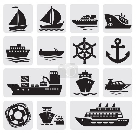 Illustration for Vector black different types of boat on gray - Royalty Free Image