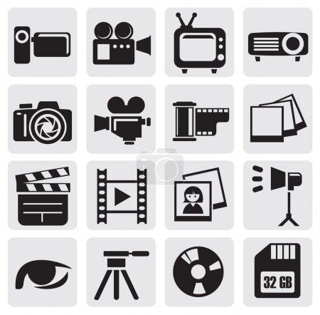 Illustration pour Icônes de technologie de film noir vectoriel mis sur gris - image libre de droit