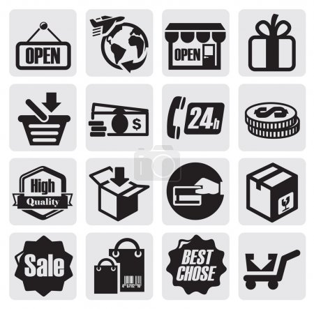 Photo for Vector black shopping icons on gray background - Royalty Free Image