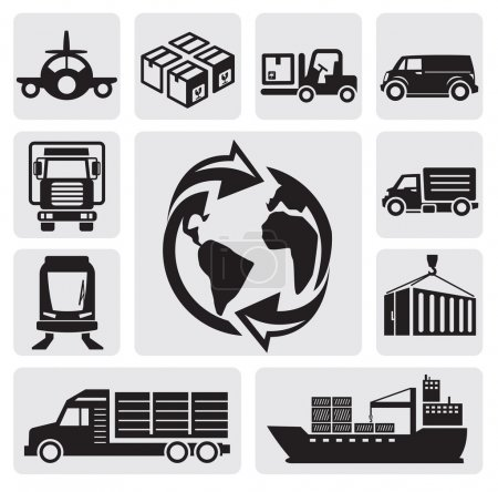 Foto de Vector black logistic & shipping icon set - Imagen libre de derechos