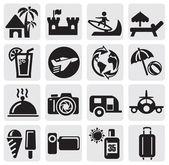 Vector black travel set icon on gray