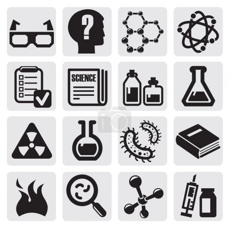 Photo for Vector black science icon set on gray - Royalty Free Image
