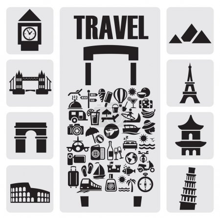 Illustration for Travel suitcase with many icon on gray - Royalty Free Image