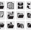 Vector black folder icons set on gray...