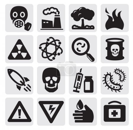Illustration for Vector black pollution icon set on gray - Royalty Free Image