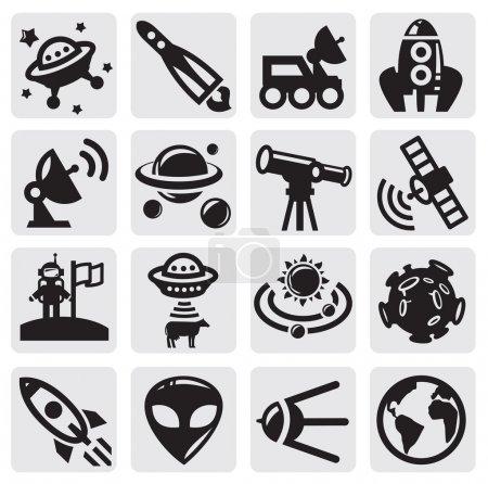 Illustration pour Icônes vectorielles de l'espace noir sur gris - image libre de droit