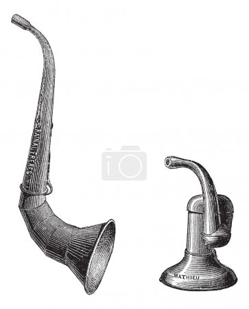 Illustration for Ear trumpets, vintage engraved illustration. Usual Medicine Dictionary by Dr Labarthe - 1885. - Royalty Free Image