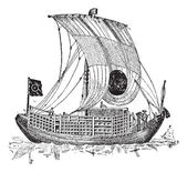 Chinese junk an ancient sailing vessel vintage engraving