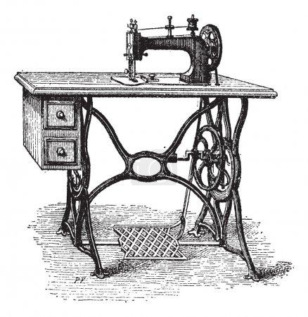 Foot-powered Sewing Machine, vintage engraving
