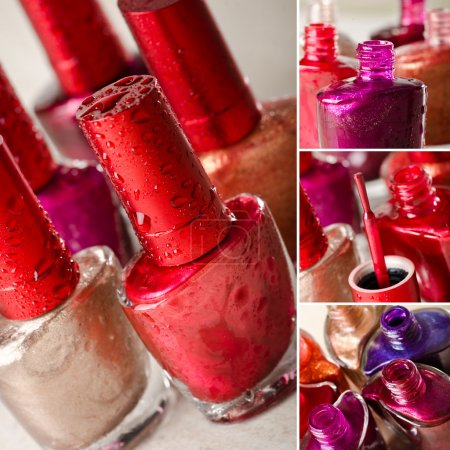 Photo pour Cosmétique fond avec rouge à lèvres et vernis à ongles sur fond noir - image libre de droit