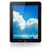 Počítač tablet pc s prázdnou obrazovkou izolovaných na bílém pozadí